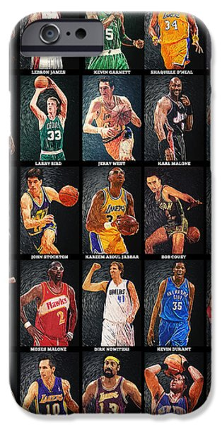 Magic Johnson iPhone Cases - NBA Legends iPhone Case by Taylan Soyturk