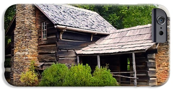 Log Cabin Digital iPhone Cases - NC Log cabin home iPhone Case by Chris Flees