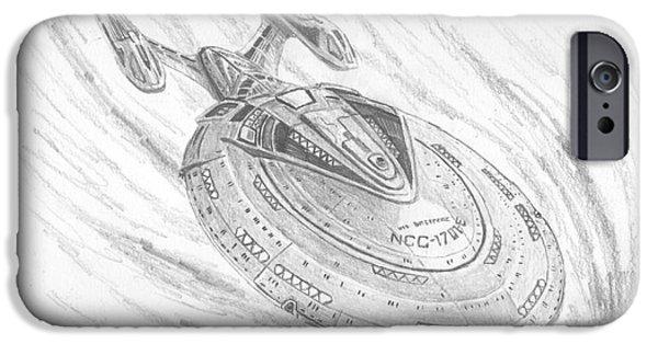 Enterprise Drawings iPhone Cases - NCC-1701-E Enterprise iPhone Case by Michael Penny