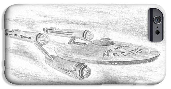 Enterprise Drawings iPhone Cases - NCC-1701 Enterprise iPhone Case by Michael Penny