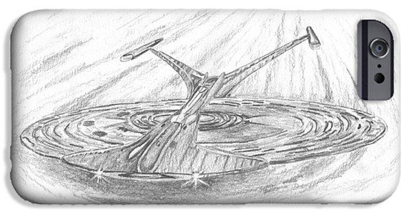 Enterprise Drawings iPhone Cases - NCC-1701-J Enterprise iPhone Case by Michael Penny