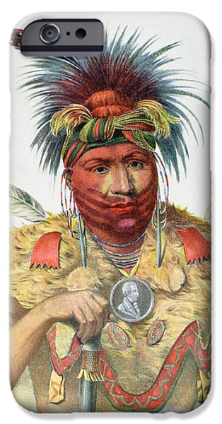 Son iPhone Cases - Ne-sou-a-quoit, A Fox Chief, Illustration From The Indian Tribes Of North America, By Thomas L iPhone Case by Charles Bird King