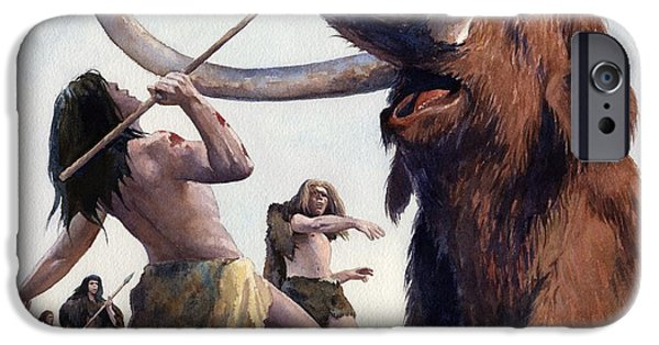 Extinct iPhone Cases - Neanderthal Killing a Mammoth iPhone Case by Rob Wood