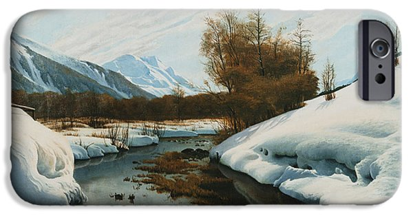 Punting iPhone Cases - Near La Punt St Morritz in the Engadine Valley iPhone Case by Peder Monsted