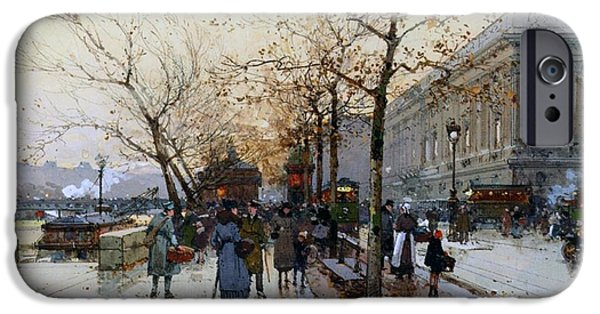 Fall Scenes iPhone Cases - Near the Louvre Paris iPhone Case by Eugene Galien-Laloue