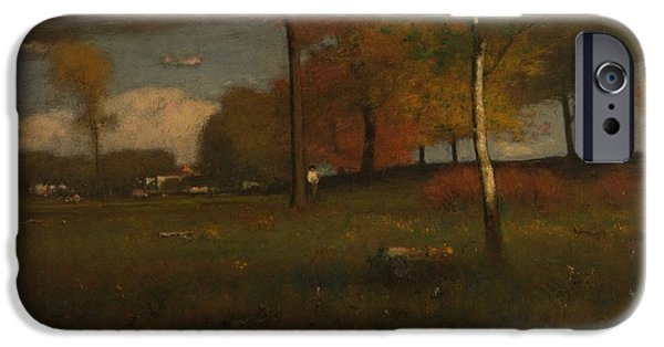 Autumn iPhone Cases - Near The Village, October, 1892 Oil On Canvas iPhone Case by George Snr. Inness