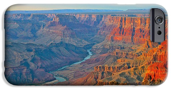 Grand Canyon Pyrography iPhone Cases - Nearing Sunset at the Grand Canyon iPhone Case by DUG Harpster