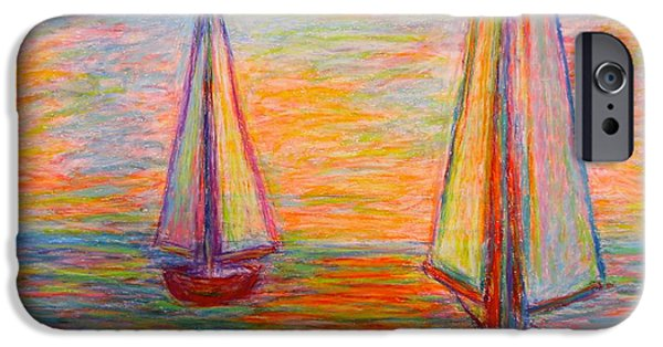 Sailboats Pastels iPhone Cases - Nearing The Shoals iPhone Case by Kendall Kessler