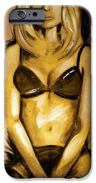 Debi Pople iPhone Cases - Nearly Naked Gold iPhone Case by Debi Starr