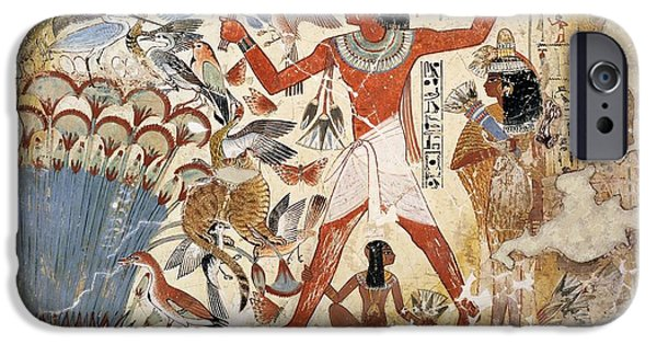 Papyrus iPhone Cases - Nebamun Hunting In The Marshes With His Wife And Daughter, Part Of A Wall Painting iPhone Case by Egyptian 18th Dynasty