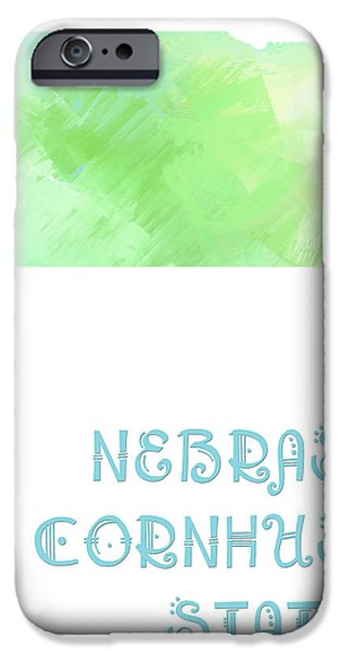 Nebraska - Cornhusker State - Map - State Phrase - Geology iPhone Case by Andee Design