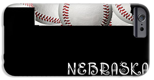 Nebraska iPhone Cases - Nebraska Loves Baseball iPhone Case by Andee Design