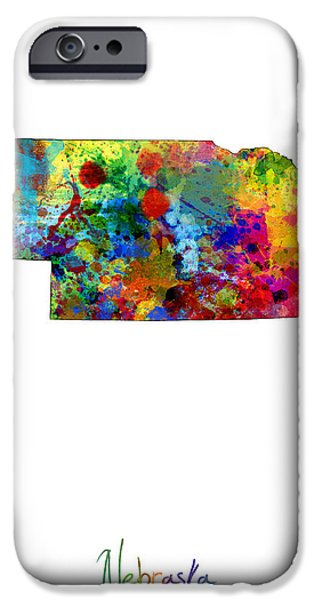 Nebraska iPhone Cases - Nebraska Map iPhone Case by Michael Tompsett