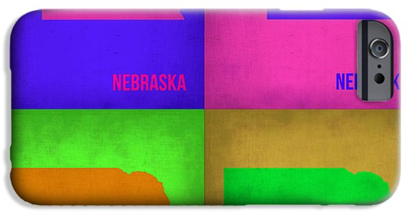 Nebraska iPhone Cases - Nebraska Pop Art Map 1 iPhone Case by Naxart Studio