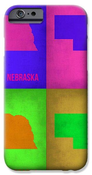 Nebraska Pop Art Map 1 iPhone Case by Naxart Studio
