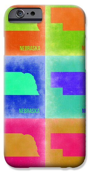 Nebraska iPhone Cases - Nebraska Pop Art Map 2 iPhone Case by Naxart Studio