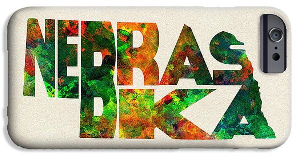 Nebraska iPhone Cases - Nebraska Typographic Watercolor Map iPhone Case by Ayse Deniz