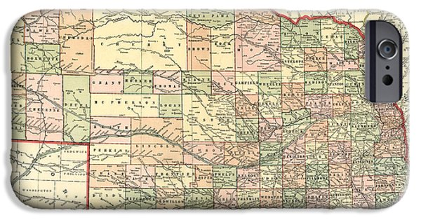 Nebraska iPhone Cases - Nebraska Vintage Antique Map iPhone Case by World Art Prints And Designs
