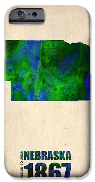 Nebraska iPhone Cases - Nebraska Watercolor Map iPhone Case by Naxart Studio
