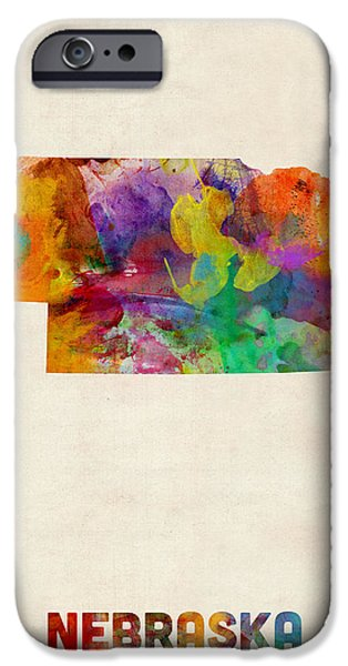 Geography iPhone Cases - Nebraska Watercolor Map iPhone Case by Michael Tompsett