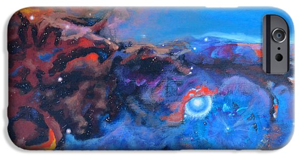Dark Matter Paintings iPhone Cases - Nebula Reach iPhone Case by Toni Wolf