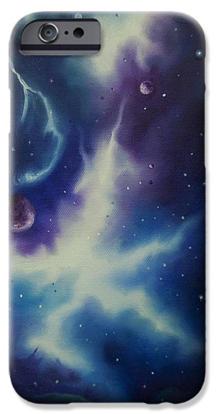 Concept Art Paintings iPhone Cases - Nebulae NGC -1014 iPhone Case by James Christopher Hill