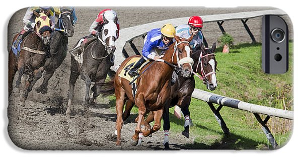 Horse Racing iPhone Cases - Neck and Neck 2 iPhone Case by Chris Dutton