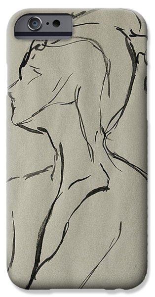 Figure Study iPhone Cases - Neckline iPhone Case by Peter Piatt