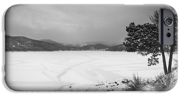 Nederland iPhone Cases - Nederland Colorado Barker Reservoir Winter View BW iPhone Case by James BO  Insogna
