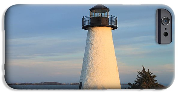 New England Lighthouse iPhone Cases - Neds Point Lighthouse Mattapoisett Massachusetts iPhone Case by John Burk