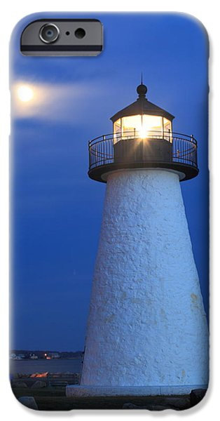 Recently Sold -  - New England Lighthouse iPhone Cases - Neds Point Lighthouse Moon Mattapoisett Massachusetts iPhone Case by John Burk