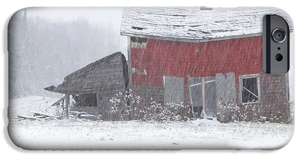 Best Sellers -  - Red Barn In Winter iPhone Cases - Needs Work iPhone Case by Jack Zievis