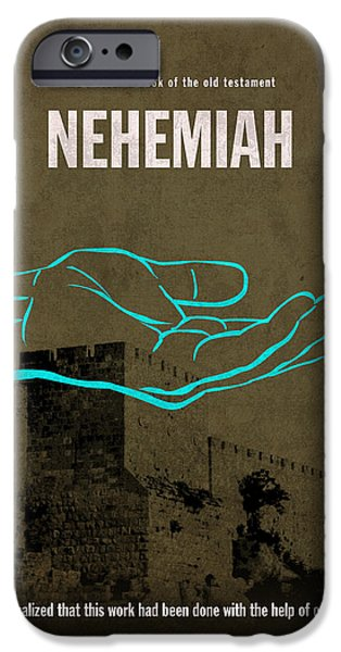 Nehemiah Books Of The Bible Series Old Testament Minimal Poster Art Number 16 iPhone Case by Design Turnpike