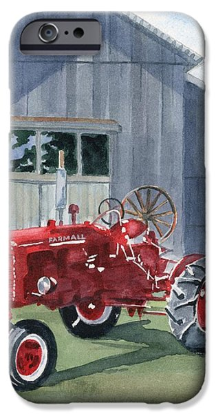 Machinery Paintings iPhone Cases - Neighbor Dons FARMALL iPhone Case by Marsha Elliott