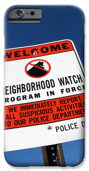 Police iPhone Cases - Neighborhood Watch iPhone Case by Olivier Le Queinec