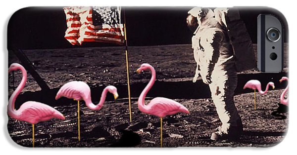 Moon Walk iPhone Cases - Neil Armstrong And Flamingos on The Moon iPhone Case by Tony Rubino