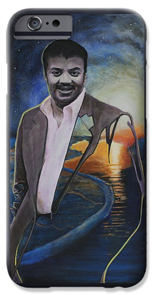Cosmos Paintings iPhone Cases - Neil deGrasse Tyson- Shore of the Cosmic Ocean iPhone Case by Simon Kregar