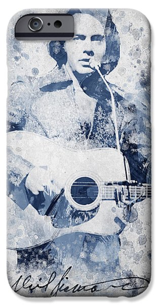 Famous Artist iPhone Cases - Neil Diamond Portrait iPhone Case by Aged Pixel