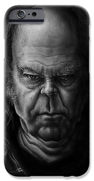 Young Digital Art iPhone Cases - Neil Young iPhone Case by Andre Koekemoer