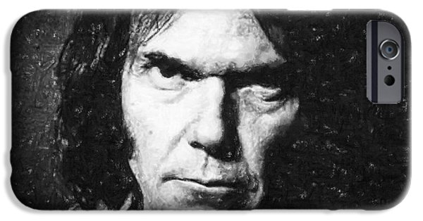 Young Pastels iPhone Cases - Neil Young iPhone Case by Antony McAulay
