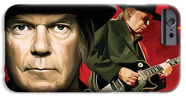 Young Mixed Media iPhone Cases - Neil Young Artwork iPhone Case by Sheraz A