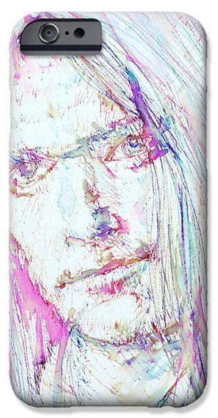 Neil Young Paintings iPhone Cases - NEIL YOUNG - colored pens portrait iPhone Case by Fabrizio Cassetta