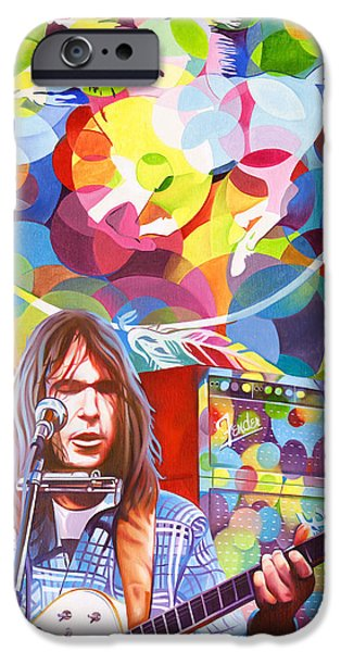 Neil Young Paintings iPhone Cases - Neil Young-Crazy Horse iPhone Case by Joshua Morton