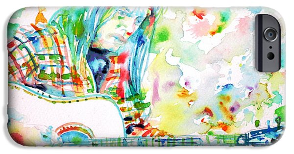 Neil Young Paintings iPhone Cases - NEIL YOUNG playing the GUITAR - watercolor portrait.1 iPhone Case by Fabrizio Cassetta
