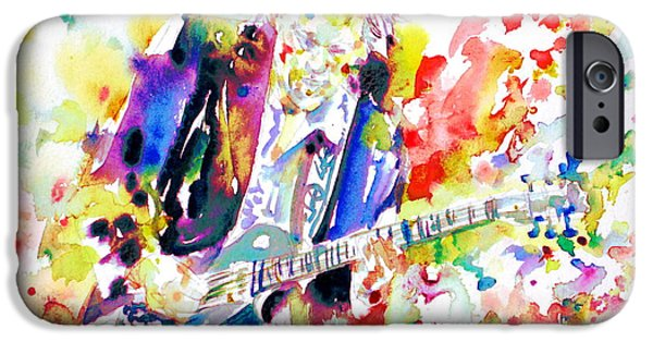 Neil Young Paintings iPhone Cases - NEIL YOUNG playing the GUITAR - watercolor portrait.2 iPhone Case by Fabrizio Cassetta