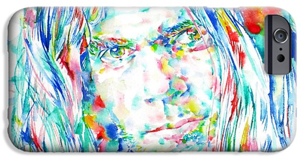Neil Young Paintings iPhone Cases - NEIL YOUNG - watercolor portrait iPhone Case by Fabrizio Cassetta