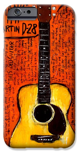 Young Paintings iPhone Cases - Neil Youngs Hank Martin Guitar iPhone Case by Karl Haglund
