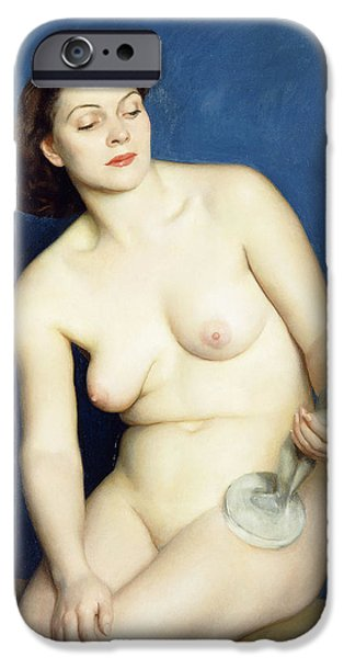 Statue Portrait Paintings iPhone Cases - Nellie and Phryne iPhone Case by William McGregor Paxton