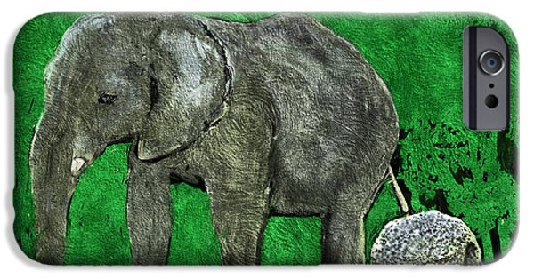 Elephants iPhone Cases - Nelly the Elephant iPhone Case by Pennie  McCracken