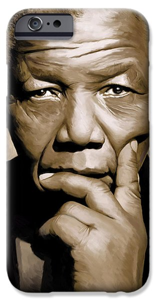 Politician iPhone Cases - Nelson Mandela Artwork iPhone Case by Sheraz A